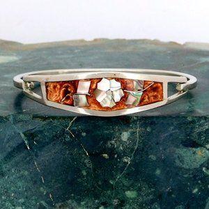 Taxco Mexican Bracelet Alpaca Silver Abalone K05